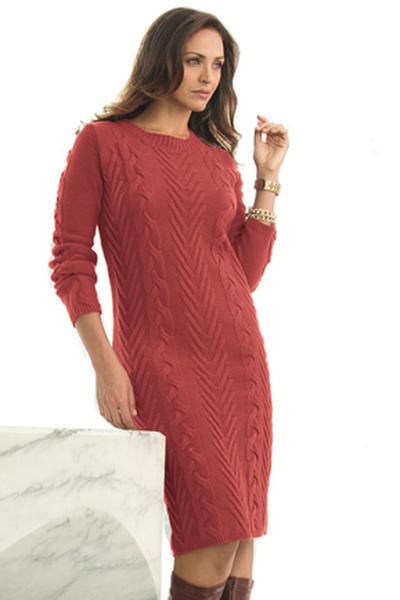 Вязаное платье для полных